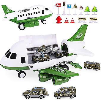 Vliegtuig speelgoed set met transport lading vliegtuig en 6 stuks auto speelgoed