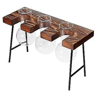 ガラスと木の花瓶プランターテラリウムテーブルデスクトップ水耕栽培盆栽花