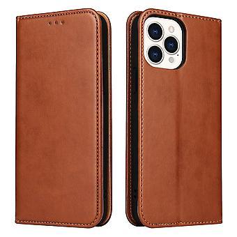 Til iPhone 13 Pro Case Læder Flip Tegnebog Folio Cover med Stand Brown