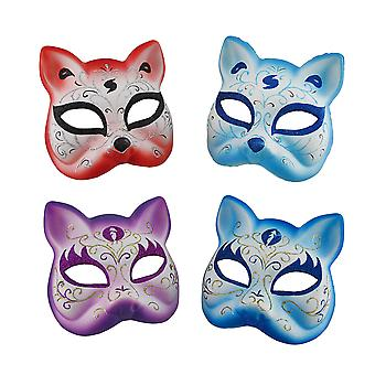 Set of 4 Sparkling Glitter Gotto Carnivale Cat Costume Masks