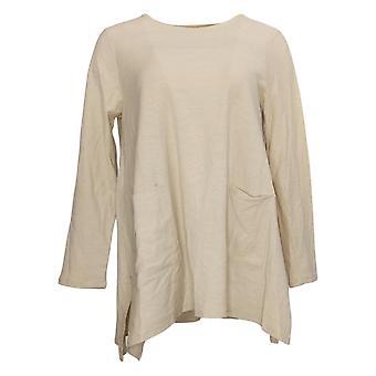 WynneLayers By MarlaWynne Women's Top Long Sleeve W/ Pockets Beige 685620