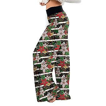 Frauen Casual Loose Floral Printed Wide Leg Hosen Flared Pants Weihnachtshose