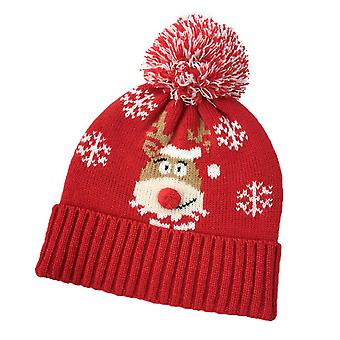 Swotgdoby Adult Snowflake Moose Pattern Woolen Hat With Red Curled Edge