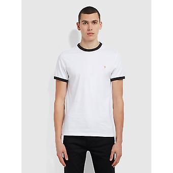 Farah groves slim fit camiseta de algodón orgánico ringer - blanco