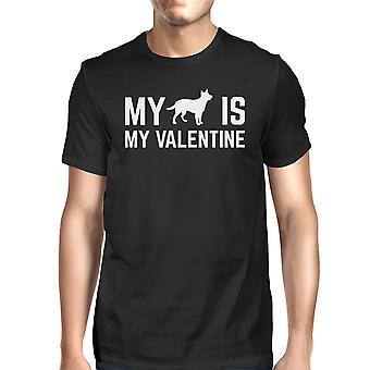 Mój pies My Valentine mężczyzn czarny T-shirt Ładna grafika dla miłośników psów