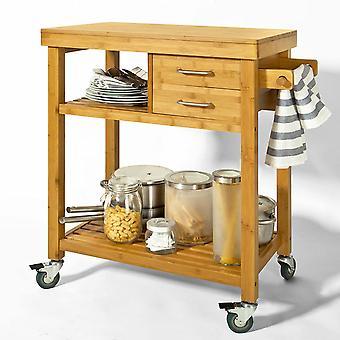 Carros de cocina de bambú SoBuy con cajones y portarrollos de papel, FKW26-N