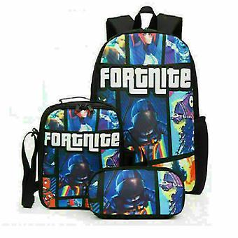 Fortnite Rucksack Lunch Bag Briefpapier Bagdrei-teilige Student Geschenk