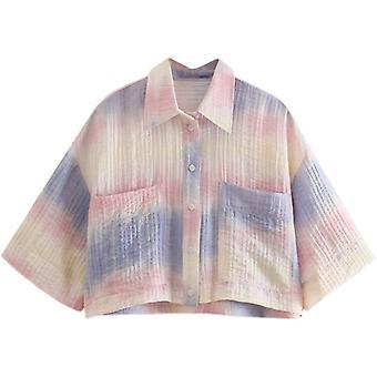 Löysä liukuväri solmioväri rakenne lyhythihainen paita