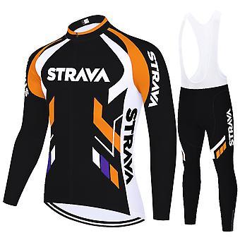 Strava Cycling Jerseys Summer Breathable Bike Jersey Long Sleeves - Orange