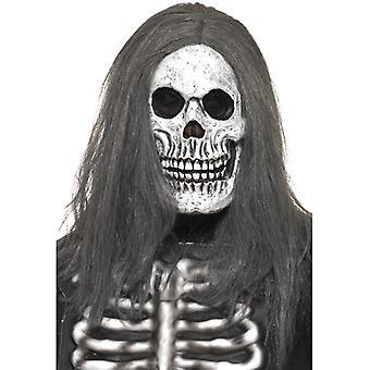 Skjelett maske med parykk zombie Halloween kostyme