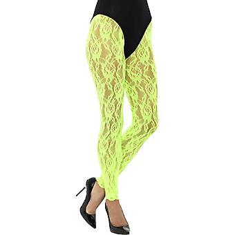 lat 80-tych Koronkowe legginsy neon zielony koronki Panie kostium jeden rozmiar