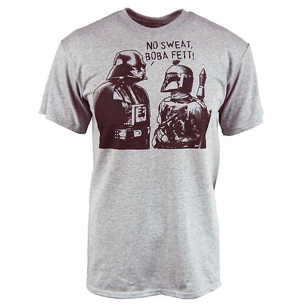 Star Wars Mens Star Wars Boba Sweat T Shirt Heather Grey