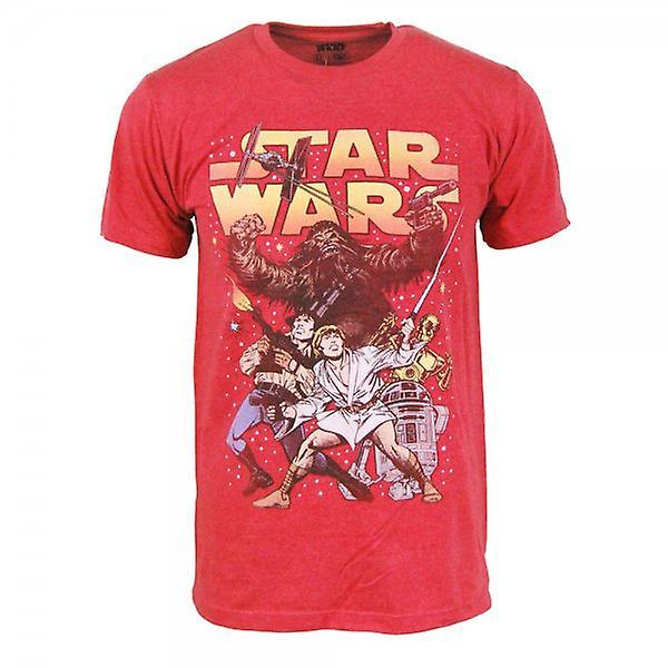 Star Wars Mens Star Wars em quadrinhos batalha T t-Shirt vermelha