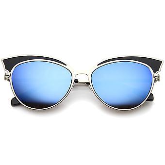 Womens zweifarbige übergroßen Metall gespiegelt Cat Eye Sonnenbrille 57mm