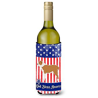 USA Patriotic Central Asian Shepherd Dog Wine Bottle Beverge Insulator Hugger