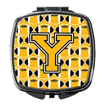 Letter Y Football Black, Old Gold and White Compact Mirror