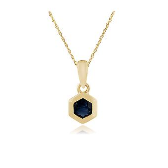 Geometric Hexagon Sapphire Bezel Set Pendant Necklace in 9ct Yellow Gold 135P1598019