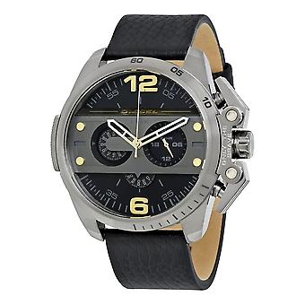 Diesel Mens Oversize Ironside Chronograph Watch svart läder rem DZ4386