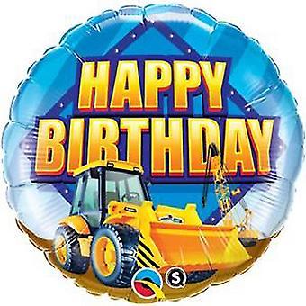 Qualatex 18 Inch Round Happy Birthday Construction Zone Foil Balloon