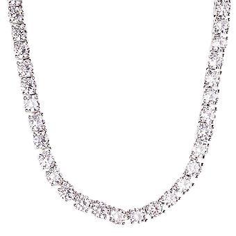 Iced out bling ZIRKONIA steen 1 rij chain - zilver 4mm