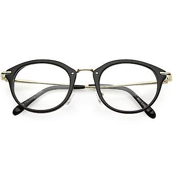 Klaxon classique Rimmed lunettes rondes bras métalliques minces lentille claire 47mm