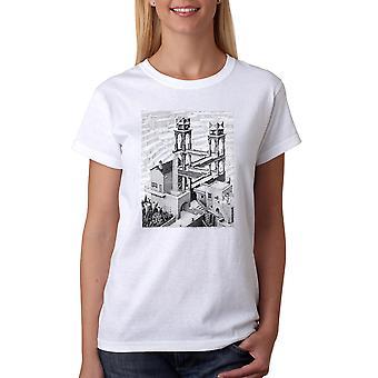 M.C. Escher Waterfall Women's White T-shirt