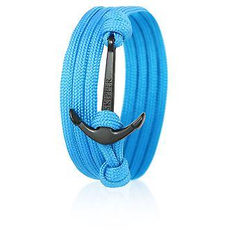 Patron d'ancrage bracelet bracelet en nylon en bleu avec une ancre noire 6623