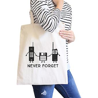Never Forget Natural Heavy Canvas Cotton Shoulder Bag For Christmas
