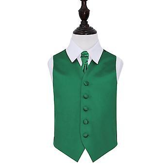 Emerald Green Plain Satin Wedding Waistcoat & Cravat Set for Boys