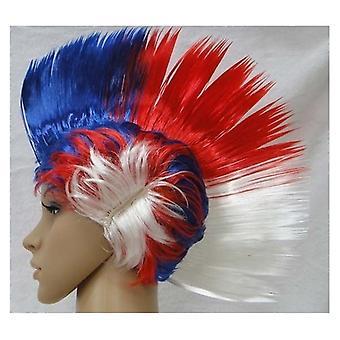 جاك الاتحاد ارتداء شعر مستعار الموهوك بيضاء وزرقاء اللون الأحمر