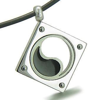 Amulet Yin Yang evenwicht bevoegdheden Lucky Charm edelstaal op Rubber koord ketting