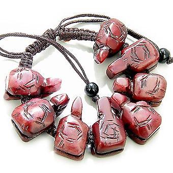 Viel Glück Talisman Schildkröten Burgund Jade Armband