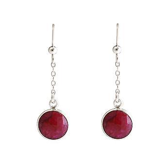 Boucles d'oreilles gemSHINE pour femmes en 925 boucles d'oreilles de yoga argentées rubis rouges cas