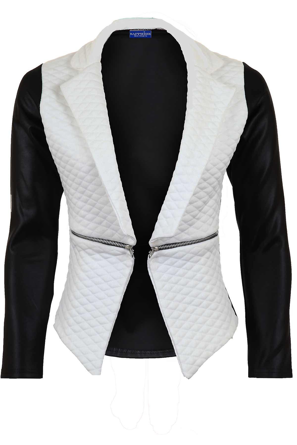 Hyvät tikattu PVC Wet Look Pitkähihaiset korkea alhainen Zip Naisten takki Blazer