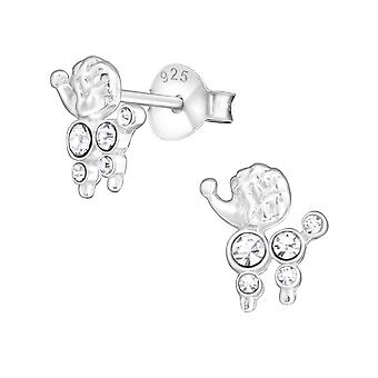 Poodle Dog - 925 Sterling Silver Crystal Ear Studs - W17466x
