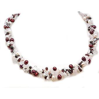 Toc Sterling Silver Burgundy, White and Pastel Pink Freshwater Pearl Semi Baroque and Quartz Necklace 17.5