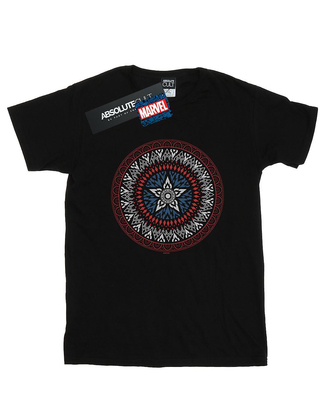 Marvel Women's Captain America Ornamental Shield Boyfriend Fit T-Shirt