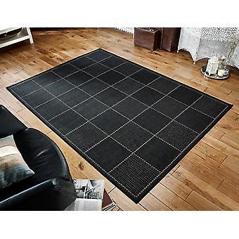 Flachgewebe überprüft Schwarz Schwarz Rechteck Teppiche Plain / Fast Plain Teppiche