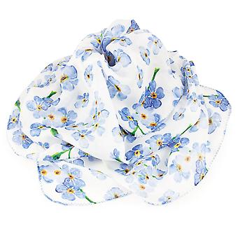 Eternal Collection Forget Me Not Blue And White Multi Coloured Pure Silk Scarf