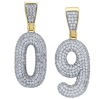 Premium bling 925 sterling silver 48mm pendant numbers gold