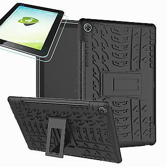 For Samsung Galaxy Tab A 10,1 T510/T515 2019 hybrid udendørs Cover sort taske + 0,3 H9 beskyttende glas