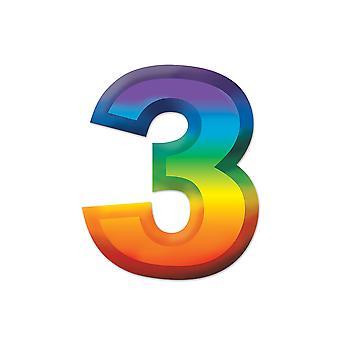 Multi-Color Plastic 3-D Nummer 3