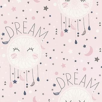Girls Pink Wallpaper Dream Catcher Stars Moon Typography White Grey Rasch