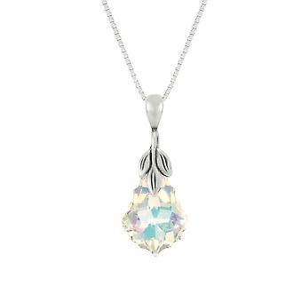 Ewige Sammlung barocker Aurora Borealis Austrian Crystal-Sterling Silber Anhänger Halskette
