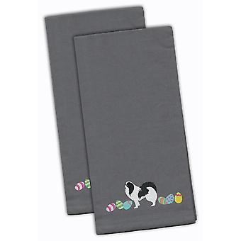 Japanese Chin Easter Gray Embroidered Kitchen Towel Set of 2