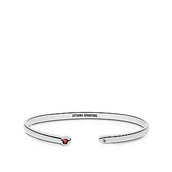 Ottawa Senators Engraved Sterling Silver Ruby Cuff Bracelet