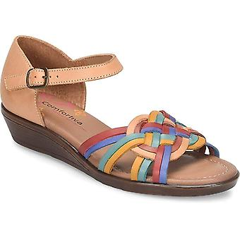 Comfortiva Womens Fortune Leather Open Toe Casual Ankle Strap Sandals