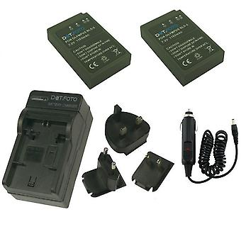 Dot.Foto Olympus BLS-5 - 7.2v/1150mAh Battery (2-Pack) and Battery Travel Charger