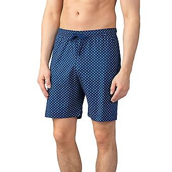 Mey Men 21450-664 Men's Lounge Neptune Blue Tile Print Cotton Pajama Pyjama Short