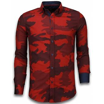 E Shirts - Slim Fit - Classic Army Pattern - Bordeaux